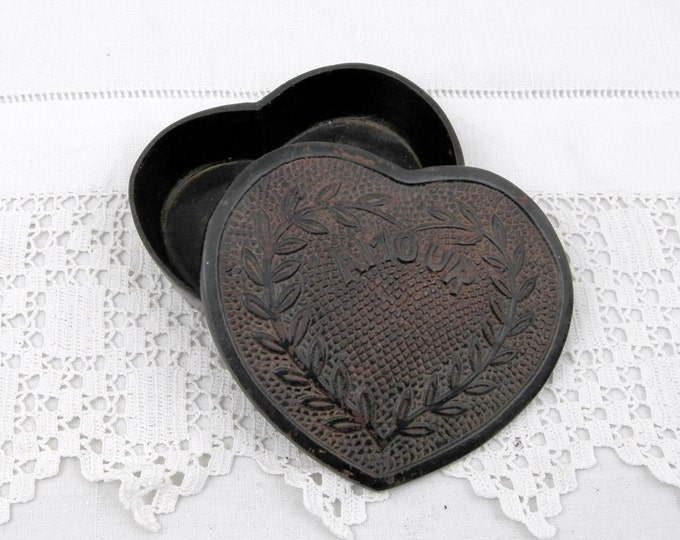 "Antique French Heart Shaped Cast Iron Box with ""Amour"" Love Embossed on the Lid , Romantic, Lovers, Anniversary, Wedding, Couple, Married"