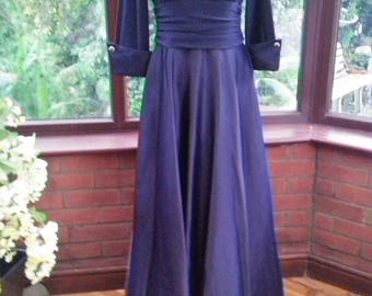 Elegant long classical gown navy blue Bridesmaid prom party evening cocktail dress uk size16  usa size10