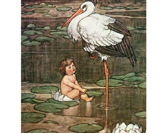 Stork and Baby Fabric Block | Hans Christian Andersen Fairy Tale | Heath Robinson