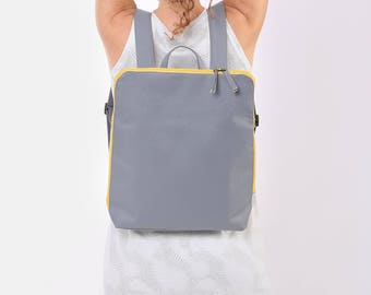 Grey Cotton 15 Laptop backpack Vegan Laptop Backpack