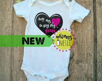 Tune my heart to sing thy grace baby onesie tshirt Whimsy Onesie Christian Come Thou Fount of Every Blessing  hymn song bible