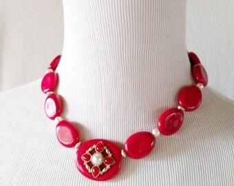 Vintage Red Lucite Beaded NRT Avon Necklace