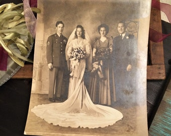 1944 Wedding Photo, Large 8 x 10 Photograph, Vintage Photography, Marriage, Wedding Dress, Military Soldier, 1940s Fashion, World War II Era