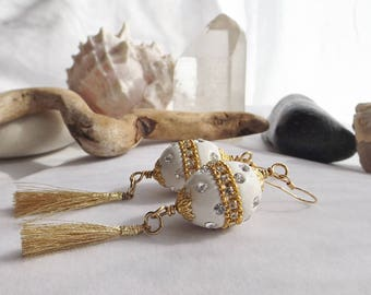 Gold Tassel Earrings, Drop, Dangle, White, Gold Jesse James Clay Boho Egg Beads, Bohemian, Easter, Weddings, Spring, Summer, Gift for Her