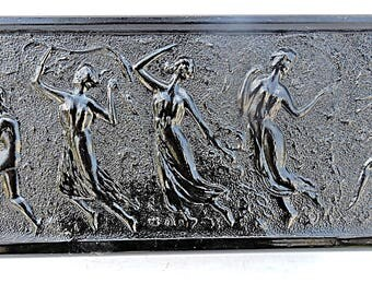 Planter Bohemian Hollywood Regency Dancing Nymphs Black Amethyst Plant Container Pot L C Smith Glass
