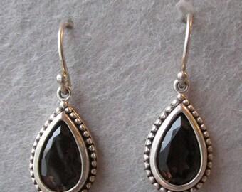 Darkest Brown Smoky Quartz in Sterling Silver Tear Drop Dangle Vintage Pierced Earrings
