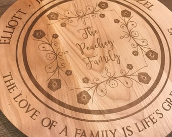 """Personalized 16"""" Lazy Susan, Custom Engraved Turn Table, Solid Birch Lazy Susan, Personalized Wedding Gift"""