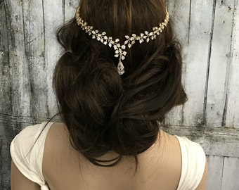 Gold Headband, Bridal headband, wedding head chain, wedding hair accessories, wedding hair jewelry, Bridal headpiece, Bridal Jewelry