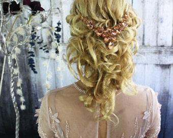 Gold Headpiece, Bridal Headpiece, Bridal Hair Jewelry, Crystal Hair Accessory, Crystal Headband, Crystal Hair Clip