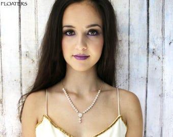 gold bridal necklace, gold crystal wedding necklace,  gold bridal jewelry set, bridesmaid necklace, gold wedding jewelry, vintage necklace