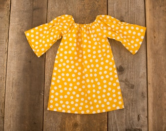 Mustard Yellow Polka Dot Three Quarter Long Sleeve Peasant Dress - Baby Toddler Girl