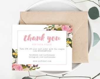 Girly thank you card | Etsy