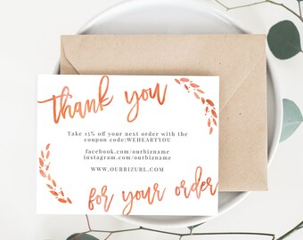 INSTANT Business Thank You Cards, Editable PDF Printable Packaging Inserts for Online Shops, Etsy Sellers | Watercolor Orange, Lola Template