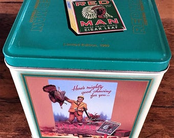 Red Man Chewing Tobacco Vintage Square Metal Container, Limited Edition 1989