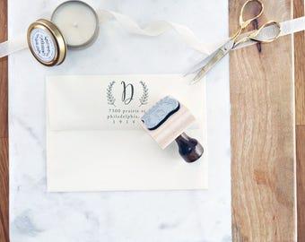 Wedding Address Stamp – Floral Invitation Stamp – Personalized Wedding Present – Wood Handle Address Stamp – Bridal Shower Gift