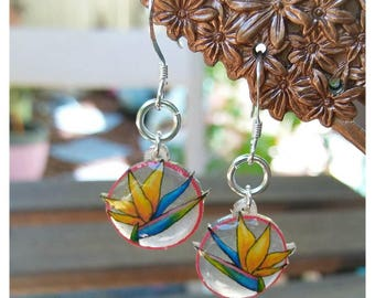 Bird of paradise earrings, tropical flower jewelry, clear circle dangle earrings, tropical vacation, hand drawn jewelry, yellow blue and red