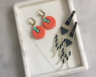 Vintage Coral and Turqoise Beaded Drop Earrings
