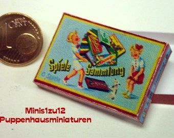 "3102# Toy box ""Spielesammlung"" - Doll house miniature in scale 1/12"
