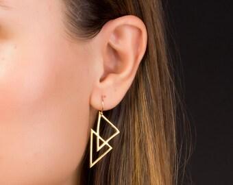 Triangle Earrings • Gold Dangle Earrings • Geometric Earrings • Gold Filled Earrings • Boho Earrings • Bridesmaid Earrings   0085EM