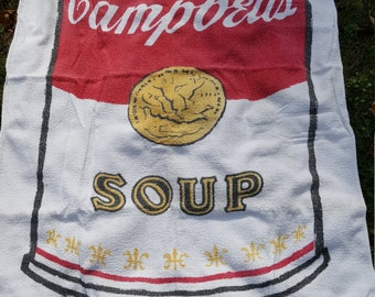 Vintage Beach Towel Very RARE Campbell's Soup Can