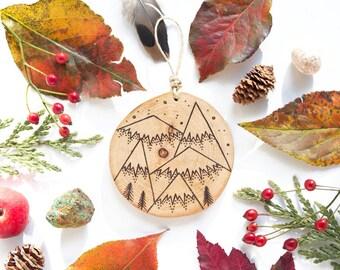 "Personalized Mountain Wood Slice Ornament - MEDIUM 2.75"", 5 Mountain - Natural Wood-Burned Ornament, Customized Wood Ornament, Wood Keepsake"