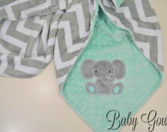 Personalized Minky Baby Blanket - Baby Elephant Blanket - Silver Chevron Minky - Opal Minky Dimple Dot - Monogrammed Blanket - Customize