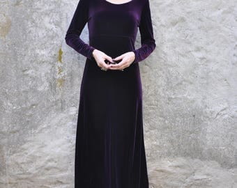 Vintage 90s Dark Purple Violet Velvet Long Sleeve Scoop Neck Stretchy Maxi Dress S/M