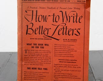 RARE Collectible How To Write Better Letters M.M. Swartz Old Letters Handwritting Handwritten Typography Calligraphy Vintage Books