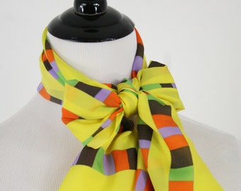 Vintage Sunny Yellow Colorful Square Stripes Oblong Scarf