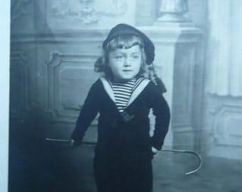 Little boy photography kid in sailor costume 1900 Paris retro photo art collectible chilhood retro clothing souvenir memorabilia