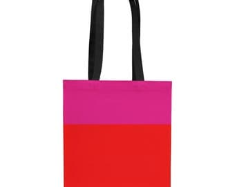 Pink and Red Canvas Tote Bag, Canvas Tote Bag, Small Gift, Tote, Colorful Tote Bag, Book Tote, Holiday Gift, Color Block Tote Bag