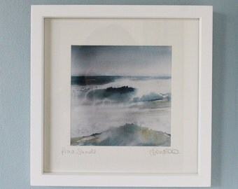 Framed print of waves, Cornwall, from original watercolour painting, surf art print, ocean surf, breaking waves, Cornish coast, Praa Sands