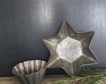 Rustic Tin Star - Primitive Country Decor - Country Kitchen - Still Life styling - Rustic Display - Tin Star & Fluted Tin Mold