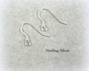 Earwires, Sterling Silver Ear Wires - Sterling Silver Large Hook Earwires (260ES) - 23.5mm with Ball and Coil - Qty. 6 (3 pair)