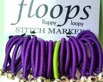 Choose size - Floops knitting stitch markers - Purple w lime green contrast for knitting in the round