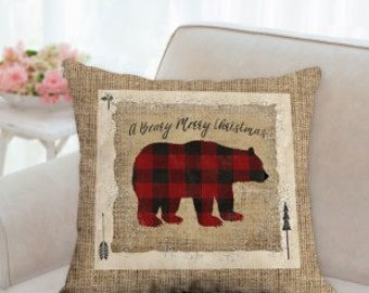 Rustic Country Christmas Bear Pillow