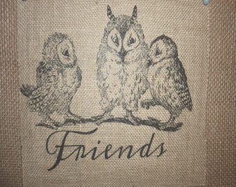 Owl Friends Burlap Picture