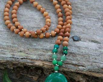 Green Jade Sandalwood Mala  - Mediation Inspired Yoga Beads BOHO chic / mala beads