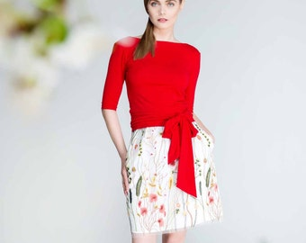 Floral mini skirt, floral short skirt, floral  embroidered tulle skirt with pockets, mini skirt with pockets, casual skirt