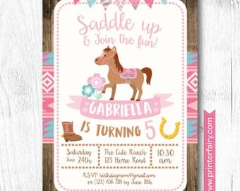 Horse Invitations, Pony Birthday Invitation, Cowgirl Birthday Invitation, Little Pony Birthday Party, DIGITAL, 2 Options