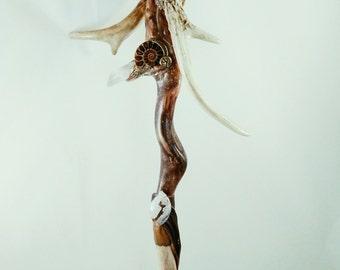 Driftwood Wand - Crystal Antler Shaman Tribal Magic - CATAWAMPUS