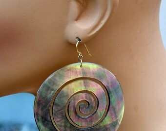 OMG-Huge-HUMONGOUS-75mm Genuine Abalone Shell Spiral Earrings. Gold Filled Ear Wires. Chatoyant, Glowing, Colorful, Exciting One of a Kind!