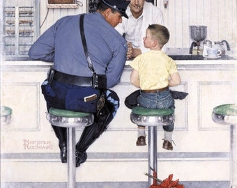 Norman Rockwell The Runaway, police officer, print of the painting, vintage, antique, photo, photography, picture, print, fine art, canvas