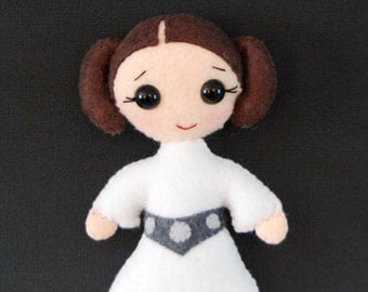 Princess Leia Hand-stitched Stuffed Felt Doll