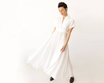 Linen Dress, White Maxi Dress, Alternative Wedding Dress, White Linen Dress, V Neck Dress, Boho Wedding Dress, Maxi Linen Dress, White Dress