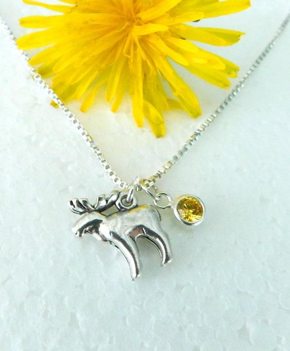 Sterling silver Elk necklace, birthstone necklace, wildlife necklace, game hunter, bull elk necklace, wilderness jewelry