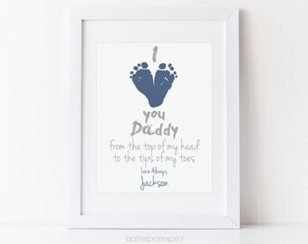 Personalized Father's Day Gift for New Dad, I Love You Daddy Baby Footprint Personalized 8x10 Inch Art Print, Your Child's Feet, UNFRAMED
