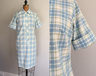 Vintage 1960s Plaid Dress / SALE 60s 70s Plaid Collar Button Front Mad Men Era Shift Dress / Large