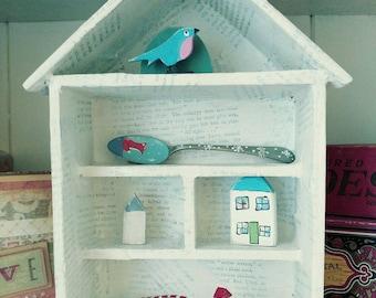 House display shelf, wooden, little, shelves, vintage, text, white, multi, collage, shelving, doll's house, trinket, cabinet, nik-naks, cute