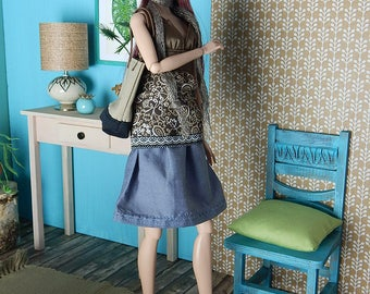 """Boho top """"Paisley"""" for Fashion Royalty, FR2, Poppy Parker, NuFace, Barbie and other 12"""" fashion dolls"""